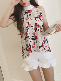 White Beige Colorful Printed Hang Neck Butterfly Knot Tops Ruffled Shorts Floral Jumpsuit for Casual Party