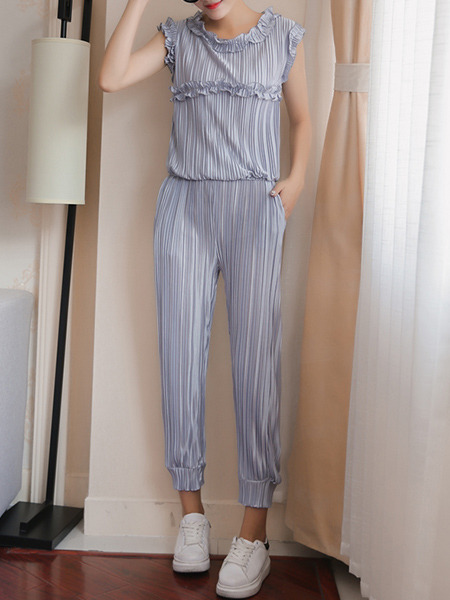 Grey Plus Size Chiffon Round Neck Slim Pleated Ruffled Twist Pattern Harem Pants Jumpsuit for Casual Party