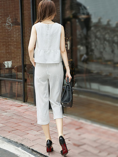 White Loose Two-Piece Linking Stripe Pants Jumpsuit for Casual Office Evening Party