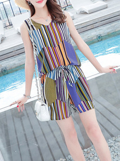 Colorful Plus Size Loose Jumpsuit V Neck Stripe Drawstring Jumpsuit for Casual