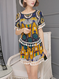 Colorful Loose Two-Piece Printed Tassels Plus Size Jumpsuit for Casual