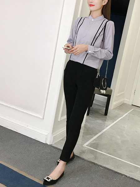 Grey and  Black Slim Contrast Linking Two-Piece Stand Collar Plus Size Long Sleeve Jumpsuit for Casual Office