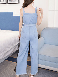 Blue Denim Strap Wide Leg Edging Band Belt Adjustable Waist Butterfly Knot Jumpsuit for Casual Party