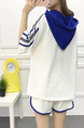 White and Blue Knitted Plus Size Loose Two-Piece Contrast Linking Holes Hooded Jumpsuit for Casual