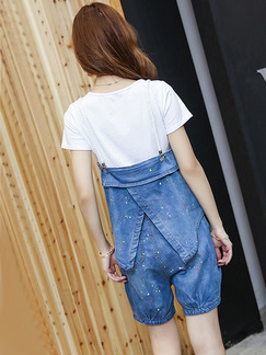 Blue and White Denim Loose Three-Piece Elastic Ruffled Jumpsuit for Casual