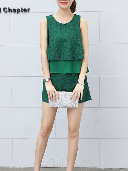 Green Lace Slim Two-Piece Two-Layered Jumpsuit for Casual Party