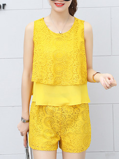 Yellow Lace Slim Two-Piece Two-Layered Cute Jumpsuit for Casual Party