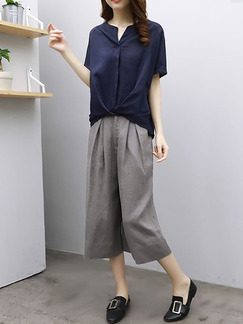 Blue and Grey Plus Size Literary Loose Two-Piece Contrast Pleated Wide Leg Jumpsuit for Casuals
