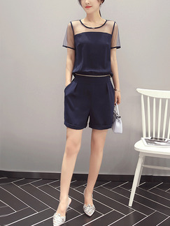 Blue Slim Two-Piece Linking See-Through Zipped Buckled Wide Leg Shorts Plus Size Jumpsuit for Casual Party Evening