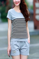 Blue Black and White Knitted Two-Piece Contrast Linking Stripe Plus Size Jumpsuit for Casual