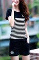 Black and White Knitted Two-Piece Contrast Linking Stripe Plus Size Jumpsuit for Casual