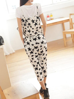 Black and White Loose Jumpsuit Printed Drawstring  Jumpsuit for Casual