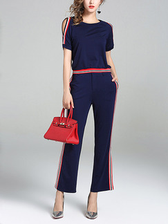 Blue Red Slim Two-Piece Contrast Linking Flared Trousers Jumpsuit for Casual Party