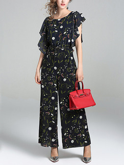 Black Colorful Chiffon Plus Size Printed Irregular Ruffled Wide Leg Jumpsuit for Casual Party Evening