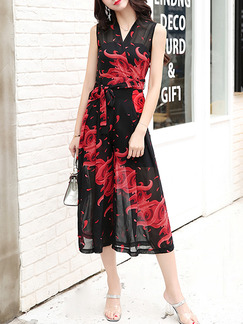 Black and Red Chiffon Plus Size Printed V Neck Wide Leg Pants Band Belt Jumpsuit for Casual
