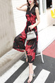 Black and Red Chiffon Plus Size Printed V Neck Wide Leg Pants Band Jumpsuit for Casual