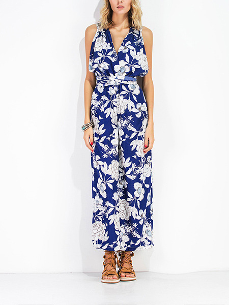 White and Blue Slim Jumpsuit V Neck Printed Adjustable Waist Wide Leg Open Back Floral Jumpsuit for Casual