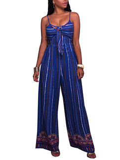 Blue Slim Sling Stripe Wide Leg Pants Adjustable Waist Jumpsuit for Casual Party Evening