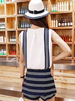 Blue and White Chiffon Slim Contrast Stripe Drawstring Two-Piece Wide Leg Jumpsuit for Casual Party