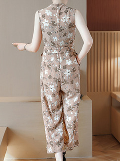 Brown Chiffon Plus Size Slim Printed V Neck Band Belt Wide Leg Floral Jumpsuit for Casual Party