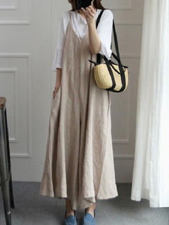 Brown Literary Loose Sling V Neck Jumpsuit for Casual