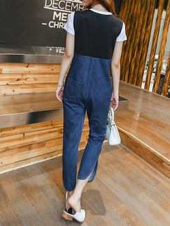 White Black and Blue Denim Jumpsuit Two-Piece V Neck Contrast Linking  Jumpsuit for Casual Office Party