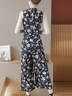 Blue Chiffon Plus Size Slim Printed V Neck Band Belt Wide Leg Floral Jumpsuit for Casual Party