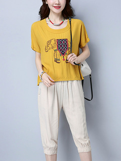Beige and Yellow Plus Size Literary Loose Round Neck Contrast Adjustable Waist Patch Embroidered Jumpsuit for Casual