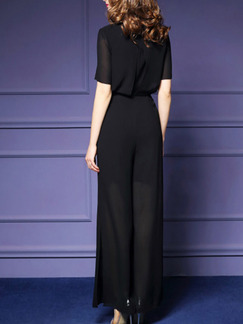 Black Slim Chiffon Siamese Wide Leg Furcal Band Belt Round Neck Jumpsuit for Casual Party Evening