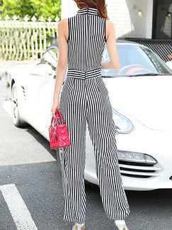 Black and White Slim Chiffon Siamese Wide Leg V Neck Vertical Stripe Band Belt Jumpsuit for Casual Party Evening