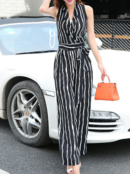 Black and White Slim Chiffon Siamese Wide Leg V Neck Vertical Stripe Band Belt Jumpsuit for Casual Party