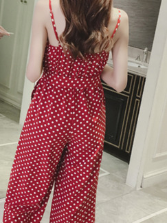 Red and White Polka Dot Slim Chiffon Sling Siamese Wide Leg Wave Point Band Belt Open Back Jumpsuit for Casual Party