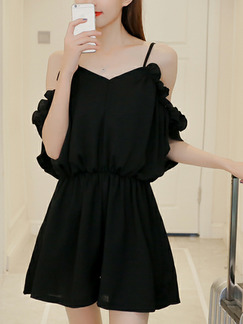 Black Loose Chiffon Sling Off-Shoulder Siamese Wide Leg Jumpsuit for Casual Party