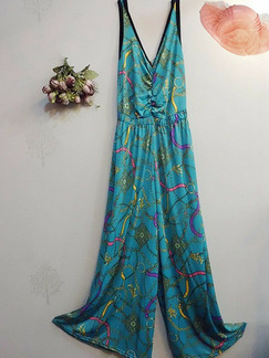 Blue Plus Size Loose Printed Siamese Wide Leg Sling V Neck Adjustable Waist Jumpsuit for Casual