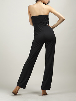 Black Slim Strapless Pockets Siamese Off-Shoulder Open Back Zipper Back  Jumpsuit for Casual Party Evening