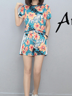 Colorful Two-Piece Printed Round Neck Adjustable Waist Wide-Leg Side Stripe Floral Jump Suit for Casual