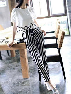 Black and White Two-Piece Plus Size Round Neck Linking Letter Contrast Stripe Halen Adjustable Waist Band Belt Jumpsuit for Casual