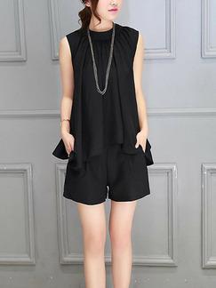 08f3d29fe5015 Black Two-Piece Plus Size Loose Round Neck Asymmetrical Hem Wide-Leg Pockets  Jumpsuit
