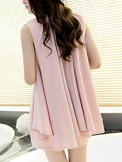 Pink Two-Piece Plus Size Loose Round Neck Asymmetrical Hem Wide-Leg Pockets Jumpsuit for Casual