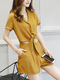 Brown Plus Size Slim Siamese Lapel A Buckle Band Belt Wide-Leg Pockets Jumpsuit for Casual Party