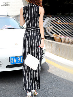 Black and White Chiffon Plus Size Slim Cross V Neck Contrast Stripe Band Belt Wide Leg Jumpsuit for Casual Party
