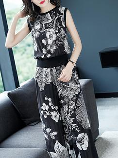 42a4e73c182 Black and White Slim Printed Wide-Leg Two-Piece Floral Pants Plus Size  Jumpsuit