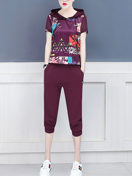 Wine Red Slim Hooded Printed Two-Piece Plus Size Jumpsuit for Casual