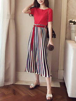 Red Slim Stripe Wide-Leg Pants Two-Piece Jumpsuit for Casual Party