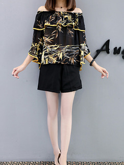 Black and Colorful Loose Printed Wide-Leg Two-Piece Off Shoulder Shorts Jumpsuit for Casual Party