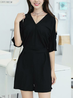 Black Loose Off-Shoulder Wide-Leg V Neck Plus Size Shorts Siamese Jumpsuit for Casual Party
