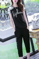 Black and White Loose Contrast Harlem Two-Piece Pants Plus Size Jumpsuit for Casual
