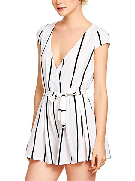 White Slim Contrast Stripe Band Siamese V Neck Jumpsuit for Casual Party