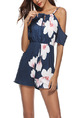 Navy Blue Slim Located Printing Off-Shoulder Siamese Floral Slip Jumpsuit for Casual Party Beach