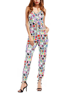 Colorful Slim Sling Printed Siamese V Neck Jumpsuit for Party Evening
